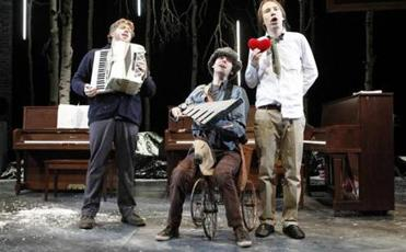 "Rick Burkhardt, Alec Duffy, and Dave Malloy are in ""Three Pianos'' at Loeb Drama Center."